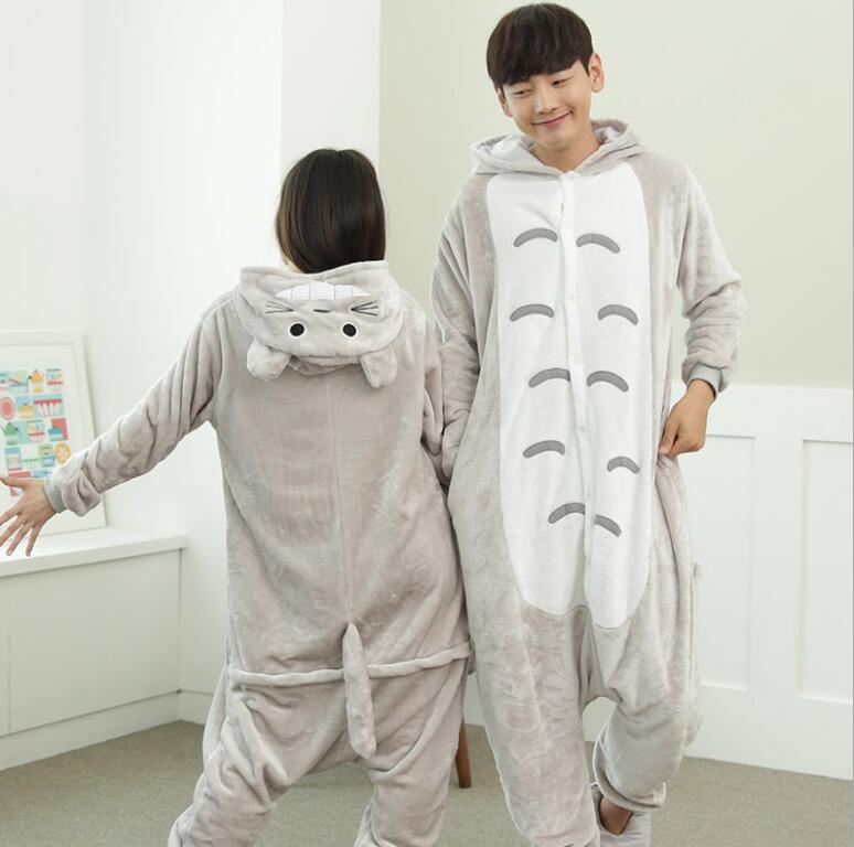 One Piece Pajamas Flannel Women Men Pajama Cartoon Unisex Cosplay Sleepwear Homewear Animal onsies Pijama set for Lovers Couples