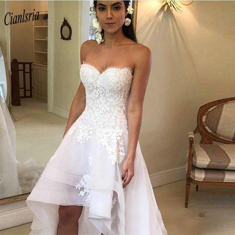 Charming Sweetheart Sleeveless High Low Beach Wedding Dress 2020 Appliques Lace Short Wedding Gowns Vestido De Noiva