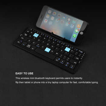 B.O.W Ultra Mini Bluetooth Keyboard Portable for iPad mini/iPhone, Slim & Light Folding Keyboard 3 Bluetooth Devices Connection