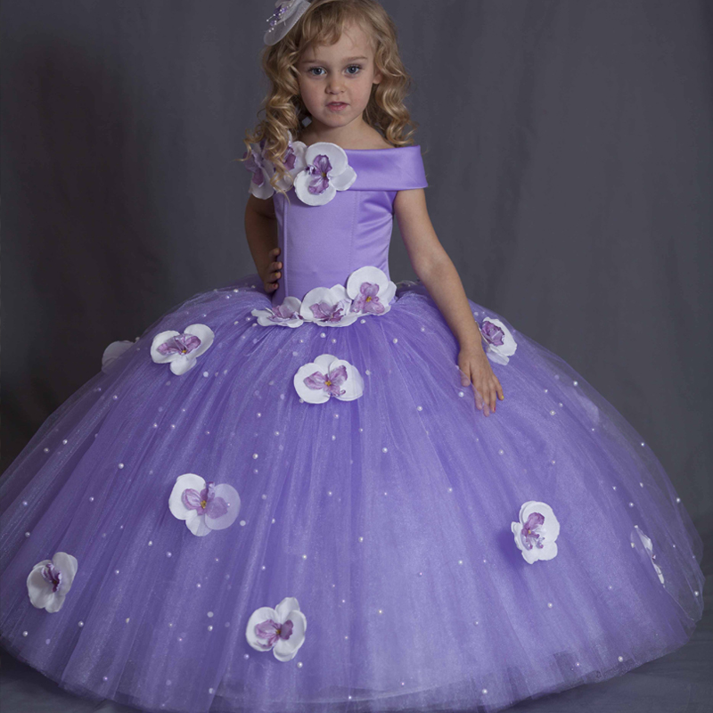 New Purple Off Shoulder Girls Pageant Gown Beading 3D flowers Elegant Flower Girls Dress Birthday Gowns Any Size мфу лазерное canon imagerunner 2204