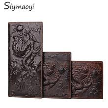 Genuine Leather Men Wallets Vintage Famous Brand Design Card Holder Purse Bag Fashion Long Wallet Clutch