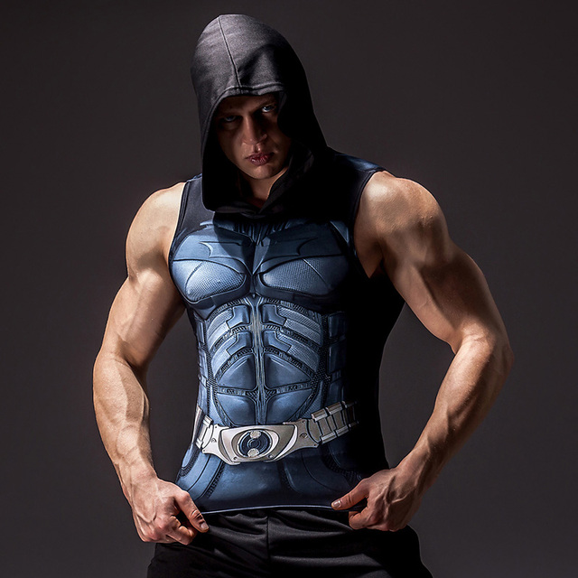 Superhero 3D printing bodybuilding stringer tank top men High elasticity fitness vest muscle guys sleeveless hoodies vest 3