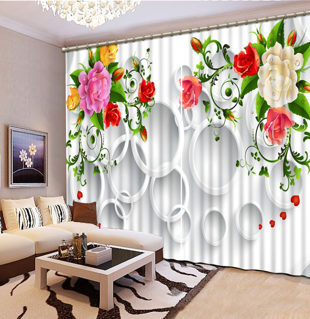 Window Blackout Luxury 3D Curtains Red rose Digital Print 3D Blackout Curtains For Living room flower curtains