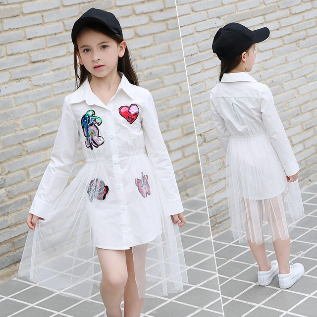 2017 Autumn Girls Dress Shinning Sequins Applique Teens Clothes Lace Children Clothing for Kids Age5678910 11 12 13 14 Years old