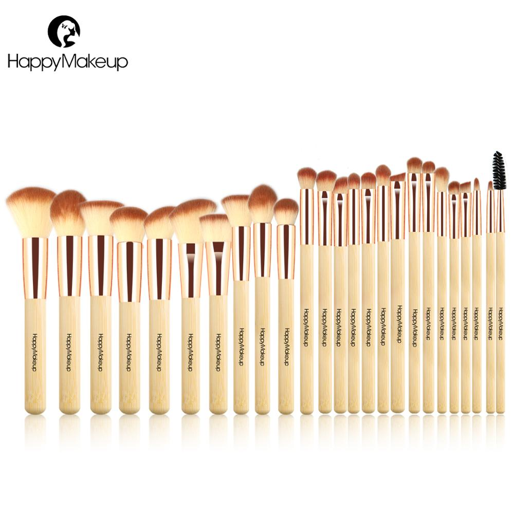 Happy Makeup Brushes Set Professional 25 Pcs Face Foundation Powder Blush Eye Cosmetic Brush Kit Synthetic Hair Natural Bamboo цены