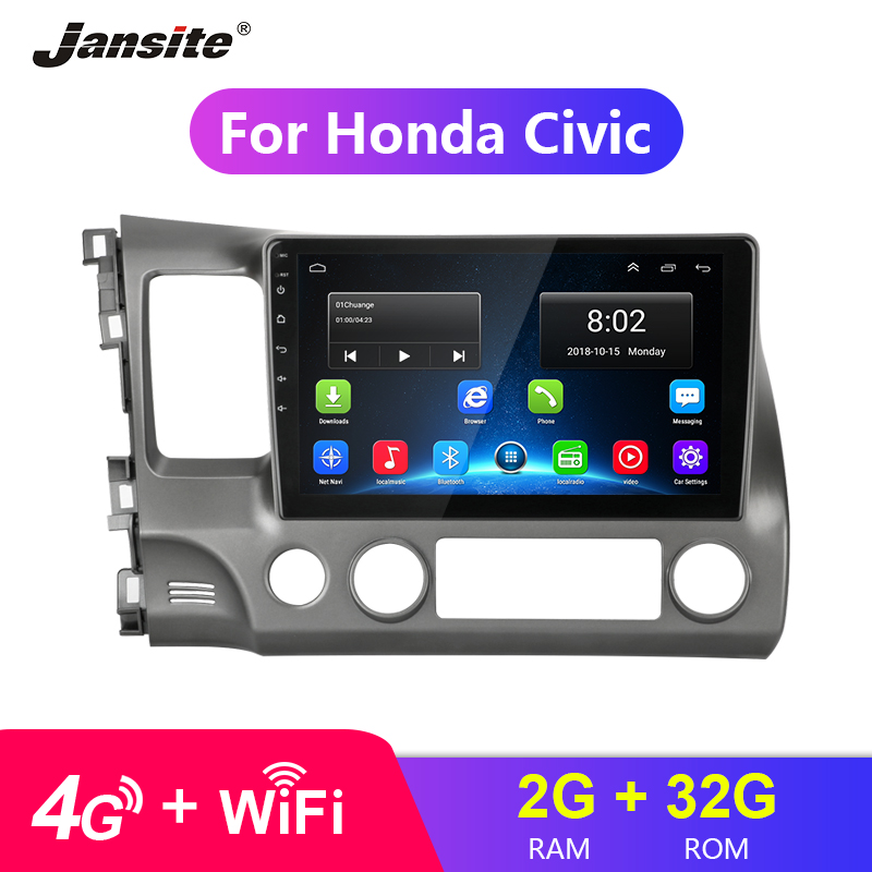 Jansite 10.1 4G Wifi Car Radio For Honda civic 2005-2011 Touch screen 2G+32G Android 8.0 radio coche players NO DVD with frameJansite 10.1 4G Wifi Car Radio For Honda civic 2005-2011 Touch screen 2G+32G Android 8.0 radio coche players NO DVD with frame
