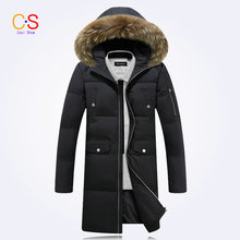 Men Down Coat With Fur Collar Duck Down Mid-length Men's Hooded Jacket Men's Outfits Winter Thick Warm Outerwears Down Parkas