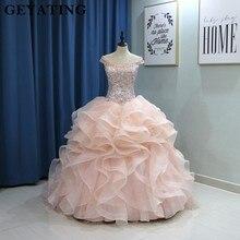 מתוק 16 שמלות 2020 אלגנטי כבוי כתף אלמוגים ורוד Quinceanera שמלה בתוספת גודל כדור שמלת חרוזים קריסטל ראפלס Vestido דה 15