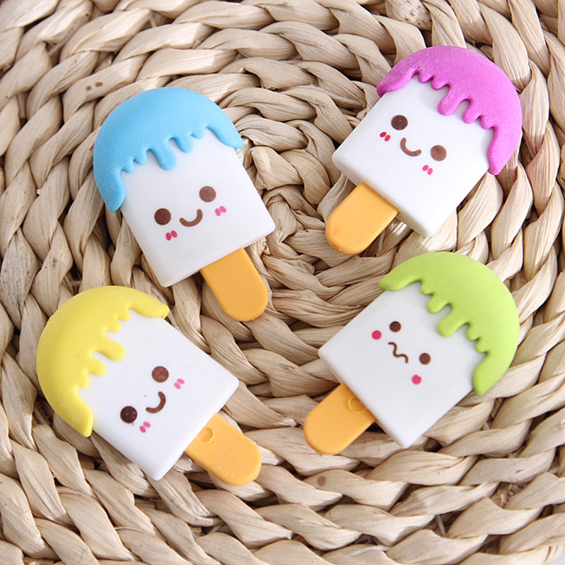 2 Pcs 3d Kawaii Popsicle Food  Eraser Cute Stationery Pencil Eraser School Office Correction Supplies Erasers