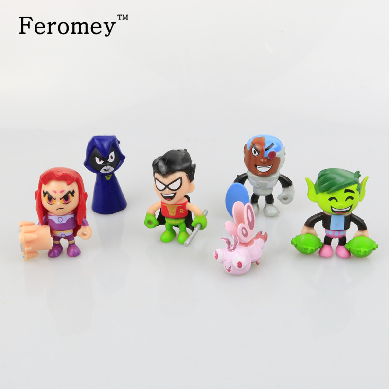 6pcs/lot Teen Titans Go Action Figures Toys Robin Beast Boy Raven Cyborg Titans Figure Toys for Children 12pcs set children kids toys gift mini figures toys little pet animal cat dog lps action figures