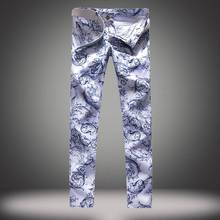 Cool Mens 3D Painted Jeans 100% Cotton Clubwear Personality fashion Jeans Men Straight Mens Denim Trousers Mens Printing Jeans