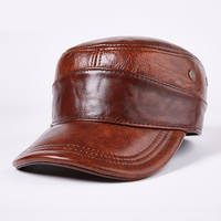 Men Autumn Winter Genuine Leather Black Brown Flat Baseball Caps Male 56 60cm Customized Size Outdoor Snapback earmuffs Golf Hat