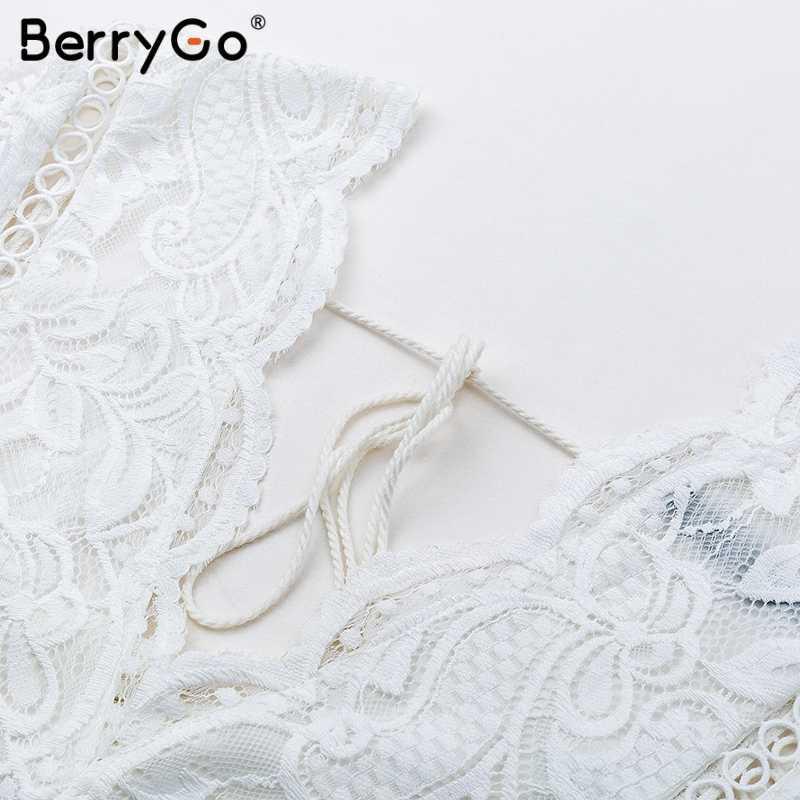 BerryGo Bahar hollow out seksi beyaz tees tops Kadınlar çiçek dantel kırpma üstleri yaz Bahar backless bayanlar tank tops gömlek 2018