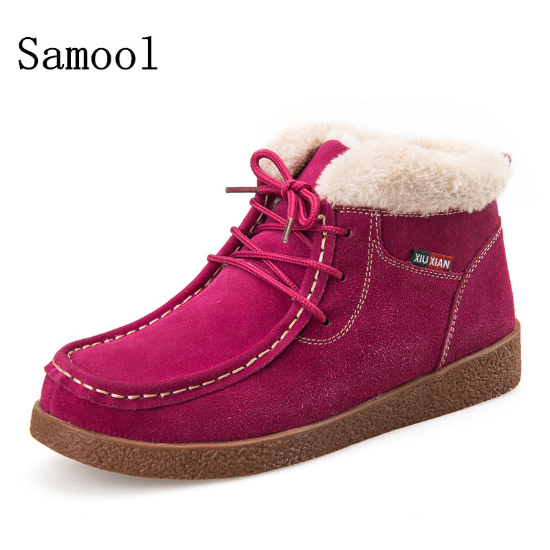 2017 Women Snow Keep Warm Winter Boots Lace Up Mujer Fur Ankle Boots Ladies Casual Shoes School Style Snow Red Colors Boots brand women snow boots warm winter suede boots botas mujer lace up fur ankle boots flat heels ladies casual shoes 5 colors