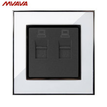 MVAVA Double PC LAN Wall Decorative Socket Dual Computer Jack Plug Universal Receptacle Luxury Mirror White Panel Free Shipping