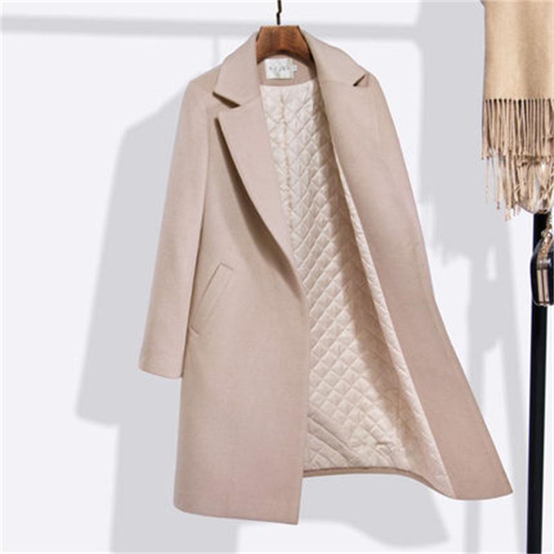 Fashion Women's Woolen Coat Women's Long Section New Winter Wear Thick Woolen Coat Professional Women's Straight Wild Ms Coat