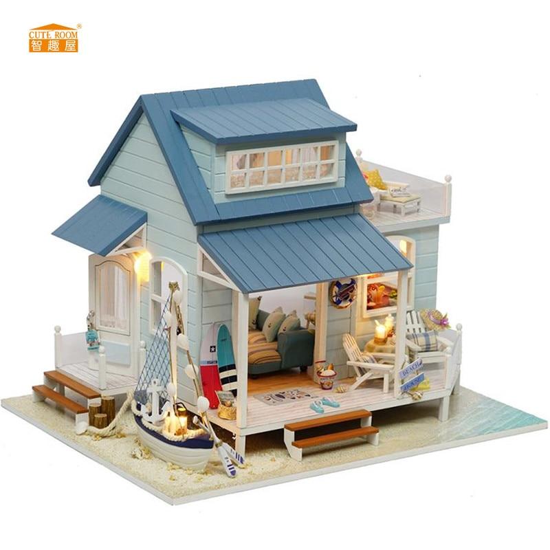 CUTE ROOM Nouvelle arrivée Miniature En Bois Maison De Poupée Avec Meubles BRICOLAGE Fidget Jouets Pour Enfants Enfants Cadeau D'anniversaire A037