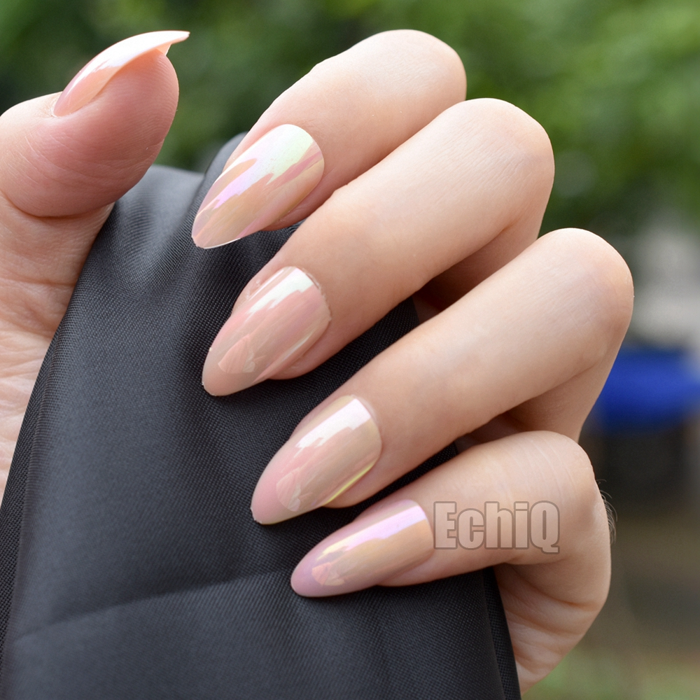 Online Shop 24pcs/kit Pink Full Fake Nail Tips Almond Shape ...