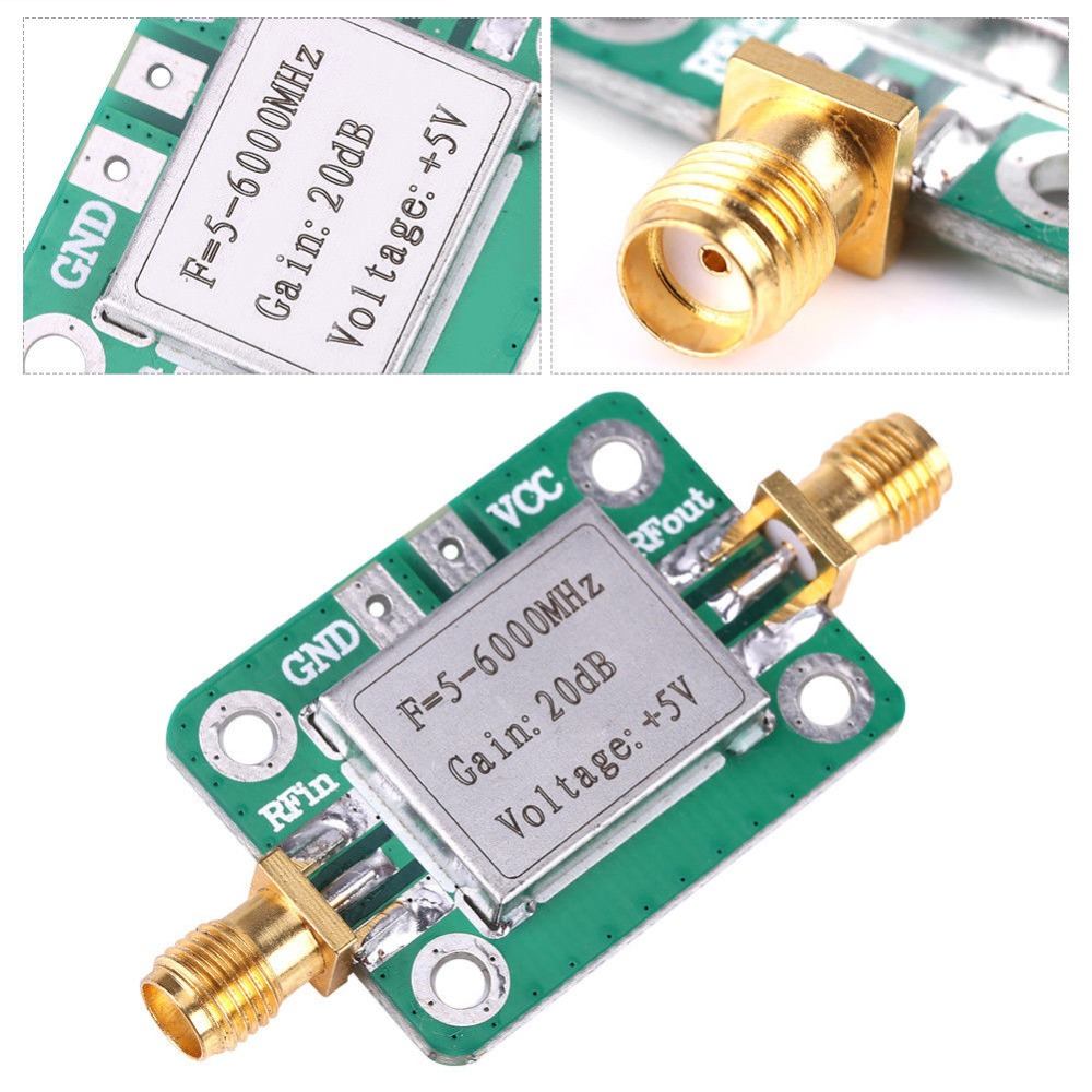5M-6GHz RF low noise Broadband Signal Amplifier Power Amplifier Gain 20dB VFH UHF SHF 5-6000mhz LNA image