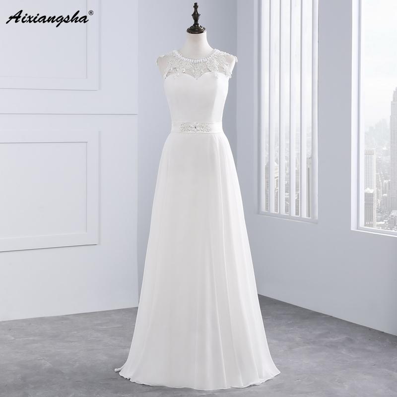 New Hot Selling Vestido de Noiva Casamento Robe De Mariage Scoop A-line lace Appliques Custom Made Wedding Dresses 1