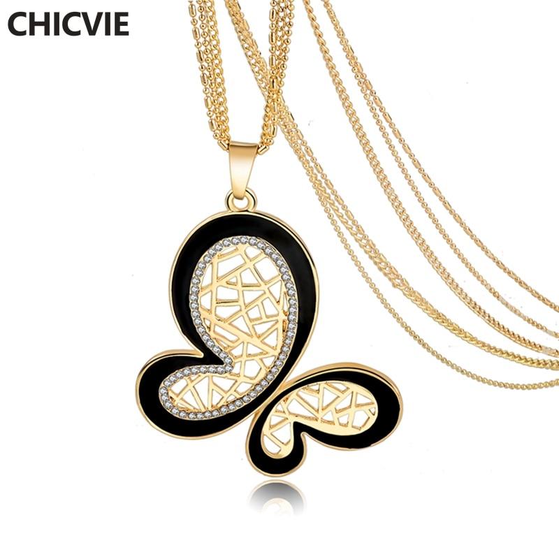 CHICVIE Colares & Pingentes de Cristal Colar de Borboleta Cor de Ouro para As Mulheres Jóias Étnicas Feminino Vintage Colares Sne160119