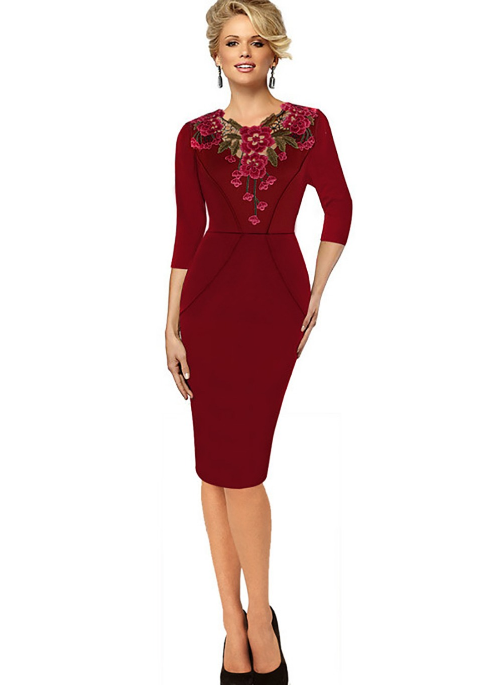 Yudian Trade Company 2017 New Design Women's casual embroidery pick up pencil dress career career work dress ladies Crochet knee length dresses