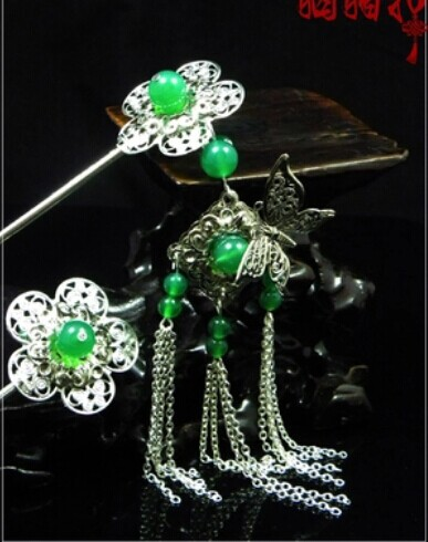 Green Agate Plum Blossom Stigma  Classical Hair Stick Set Vintage Jewelry Hanfu Costume Hair Accessory Price is for 2pcs sticks pink crystal double layer classical hair stick vintage hair accessory hair stick hanfu hair accessory