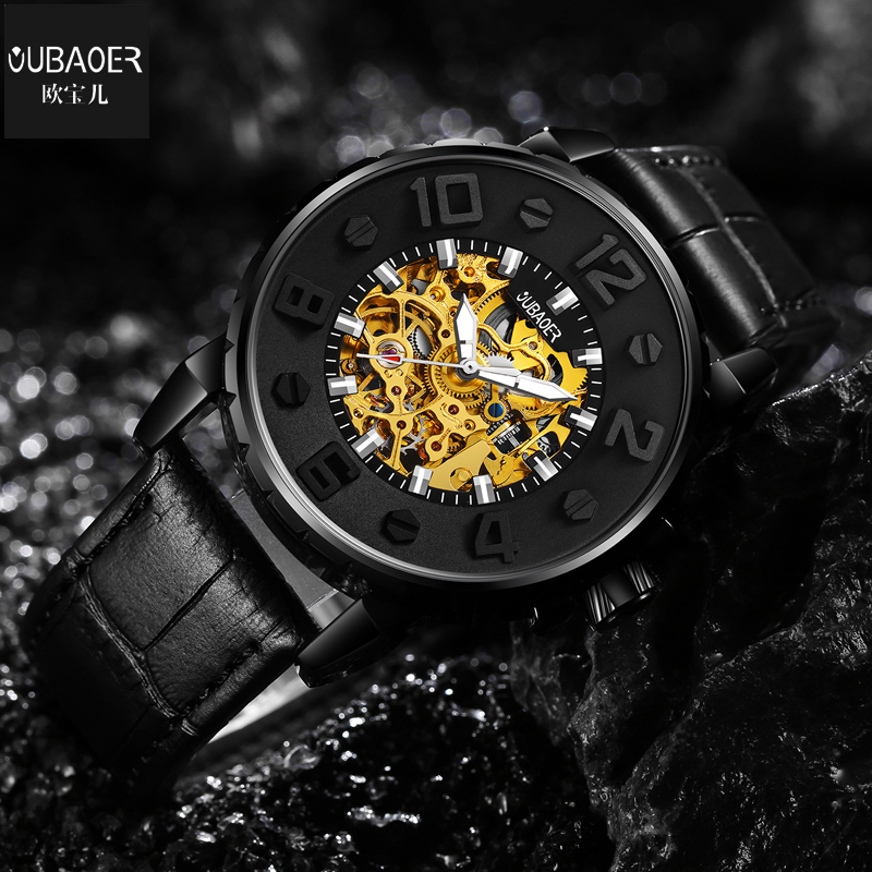 Mechanical Watch Men Top Brand Luxury OUBAOER Genuine Leather Automatic Watches Black Relogio Masculino Men Skeleton Watch ultra luxury 2 3 5 modes german motor watch winder white color wooden black pu leater inside automatic watch winder