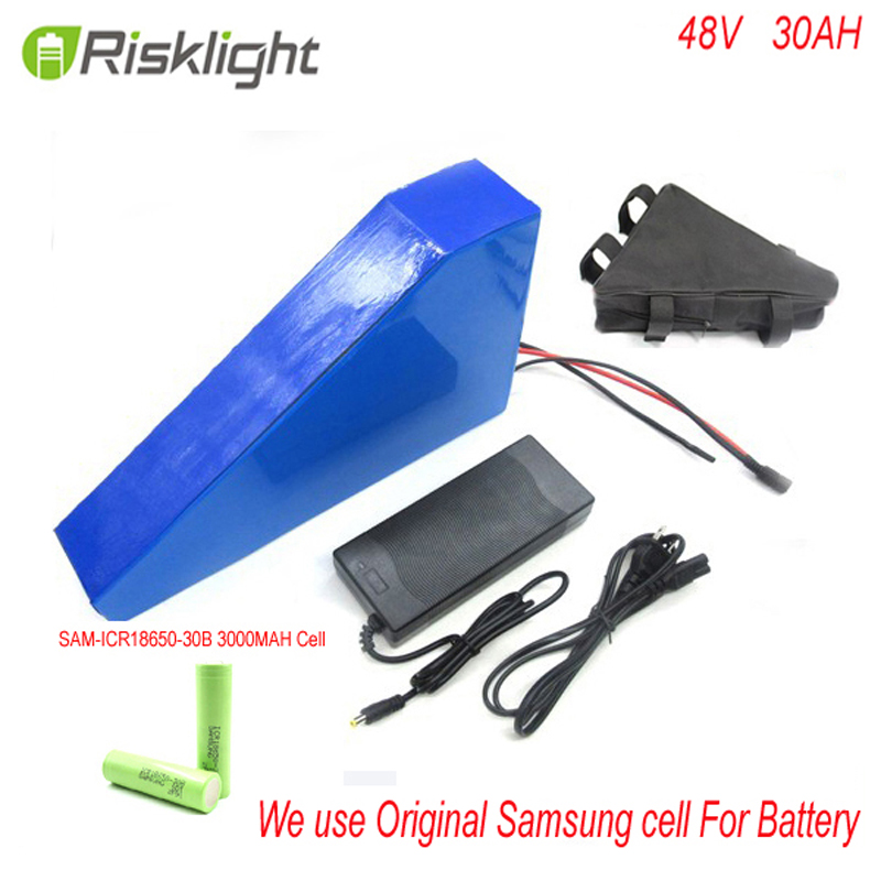 48v 30ah triangle style lithium battery rechargeable 48V 1000W electric bike battery with triangle bag+bms For Samsung Cell 36v 1000w e bike lithium ion battery 36v 20ah electric bike battery for 36v 1000w 500w 8fun bafang motor with charger bms