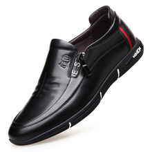 Comfortable and lightweight casual men's leather shoes Genuine Leather business casual soft shoes breathable driving shoes men цены онлайн