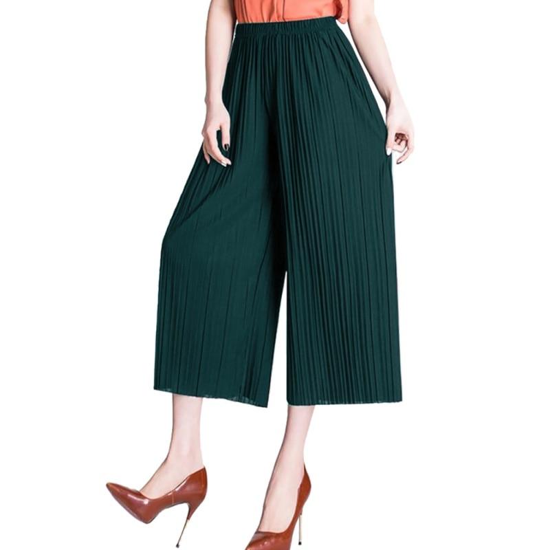 Summer Pants Chiffon Wide Leg Pants  Female Sexy Korean Women High Waist Pleated Wrinkle Loose Girls Thin Section Fashion