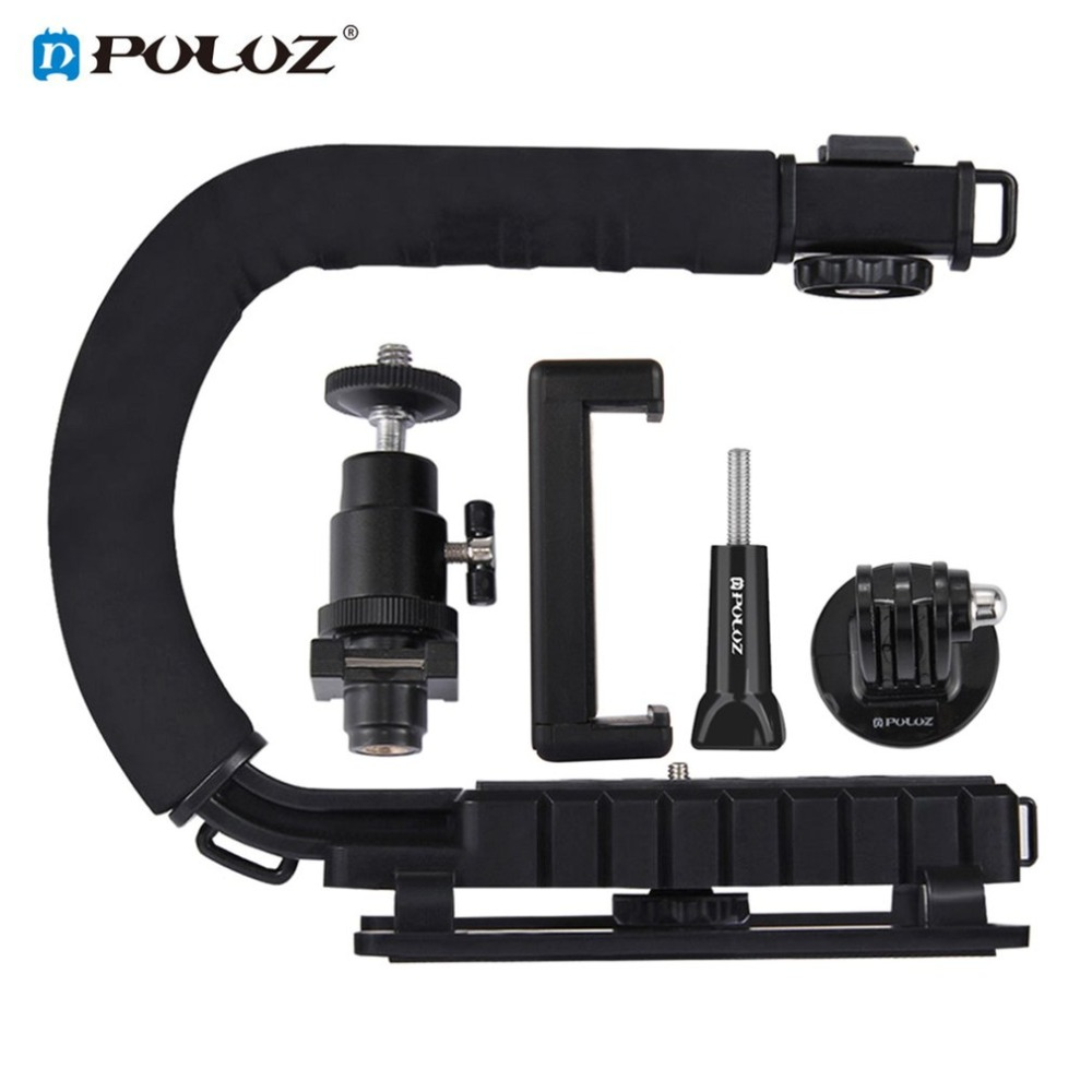 PULUZ Tripod Head U/C Shape Handheld DV Bracket Stabilizer Kit w/ Cold Shoe With Phone Clamp Quick Release Buckle Long Screw