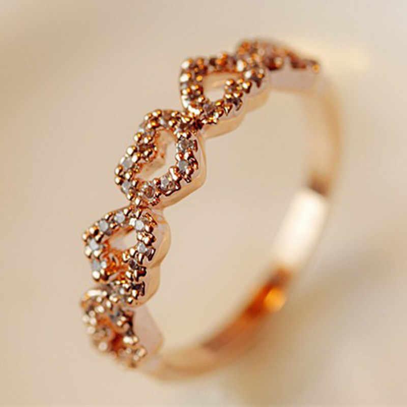 الإناث القلب حلقة رائعة الحب كريستال خواتم الزفاف الخطوبة مجوهرات الأزياء اليابان وكوريا الجنوبية نمط خمسة القلب خواتم