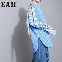 EAM 2018 Spring Fashion New Round Neck Long Sleeve Hollow Strapless Shirt Blue Strips Long