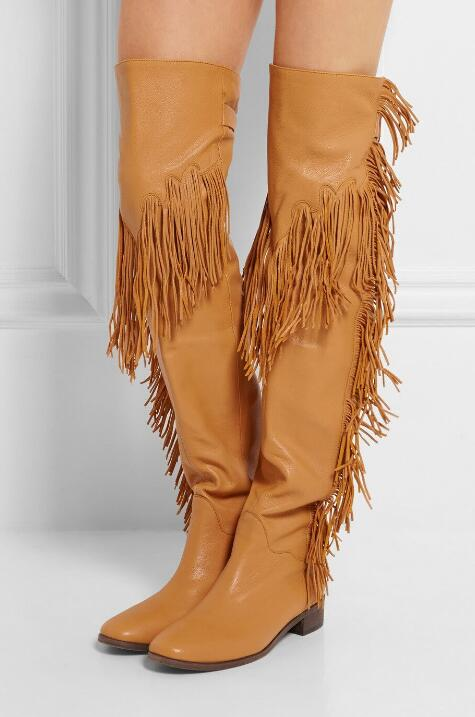 Big Size Brand Choudory Women Fashion Solid Brown Black Buckle Tassel Fringed Over The Knee Thigh Boots Flat Long Boots choudory new brown long fringe boots fashion tassel woman riding boots winter over the knee genuine leather motorcycle boots