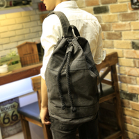 New Men S Backpack Large Capacity Men Drawstring Backpack Canvas Bucket Bag Unisex Fashionable Concise School
