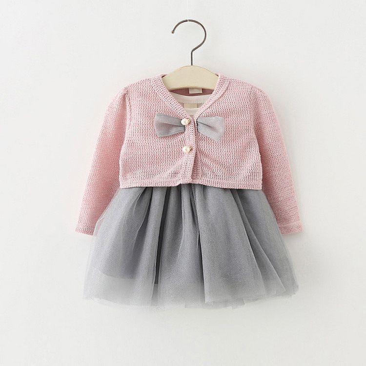 new spring baby girls clothes lace patchwork toddler girls dress knit 1year birthday dre ...
