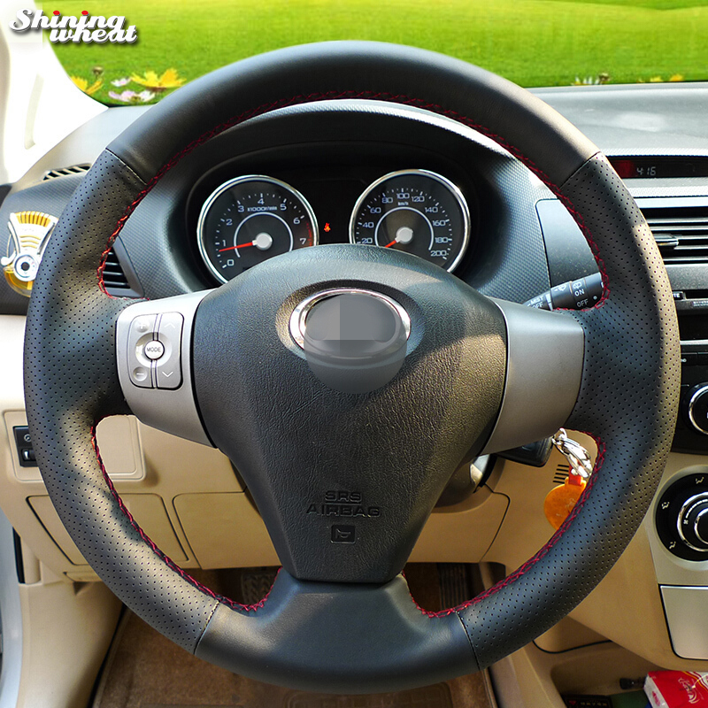 Shining wheat Hand-stitched Black Leather Car Steering Wheel Cover for Great Wall Haval Hover M1 M2 M4 C20R voleex c30 накладки под ручки для great wall hover m4 2012