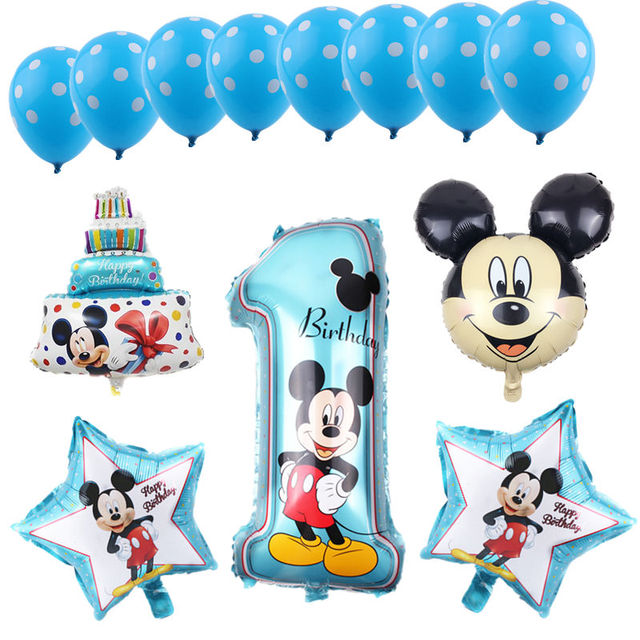 13pcs/ lots Mickey minnie 13pcs/set foil balloons 1st birthday party decoration ballon number 1 globos dot latex