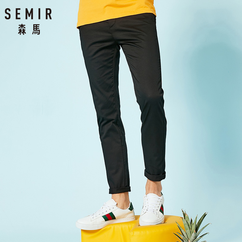 SEMIR Casual Pants Solid-Trousers Slim-Fit Stretch Brand-Clothing Autumn Male New