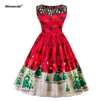 Himanjie Autumn Tree Print Lace Vintage Dress Plus Size 2017 Sleeveless Women Red Christmas Party Dresses