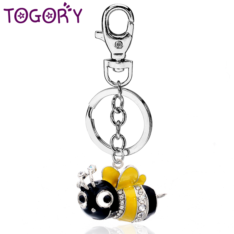 TOGORY Cute Bee Key Chains Rings Holder For Lovers Sweetheart Pendant For Car Keyrings KeyChains