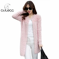Korean Style Women Sweet Beading Pearl Long Knitted Sweaters Outwear Coat Warm Thick Cardigan Knitwear Elegant