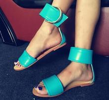 Open Toe Women Roma Style Flat Sandals Summer Hot Sky Blue Leather Thicken Buckle Ladies Fashion Sale Concise Sandal