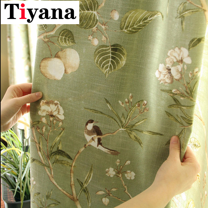 Rustic Green Color Leaves Curtains For Living Room Kitchen Door Linen Birds Printed Partition Window Drapes Home Decor P145D3