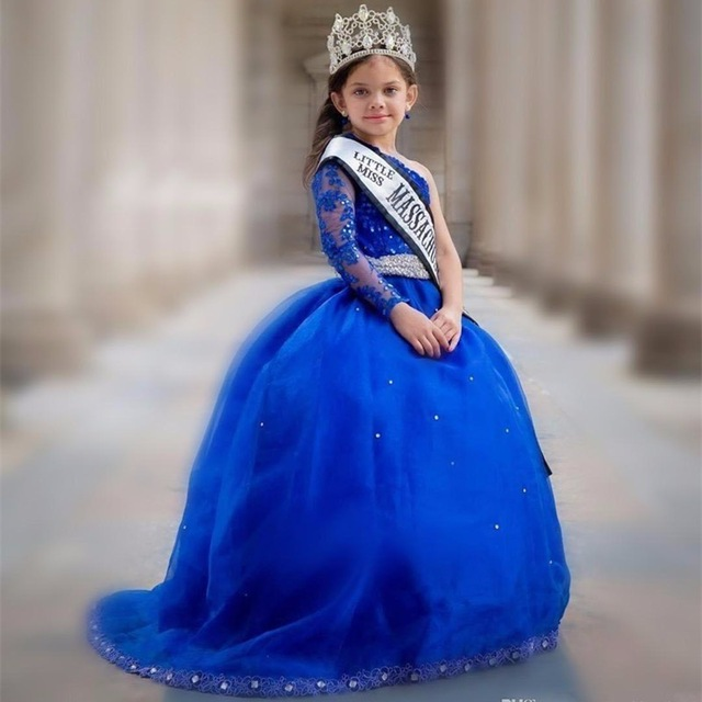 Royal Blue One Shoulder   Flower     Girl     Dresses   Beading Long Sleeves Little   Girls   Pageant   Dresses   With Applique for Wedding Party