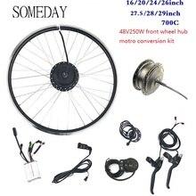 Когда-нибудь 48V250W электрическое преобразование велосипедов Комплект 16 20 24 26 27,5 28 700C 29 передние ступицы моторного колеса со спицами и обода