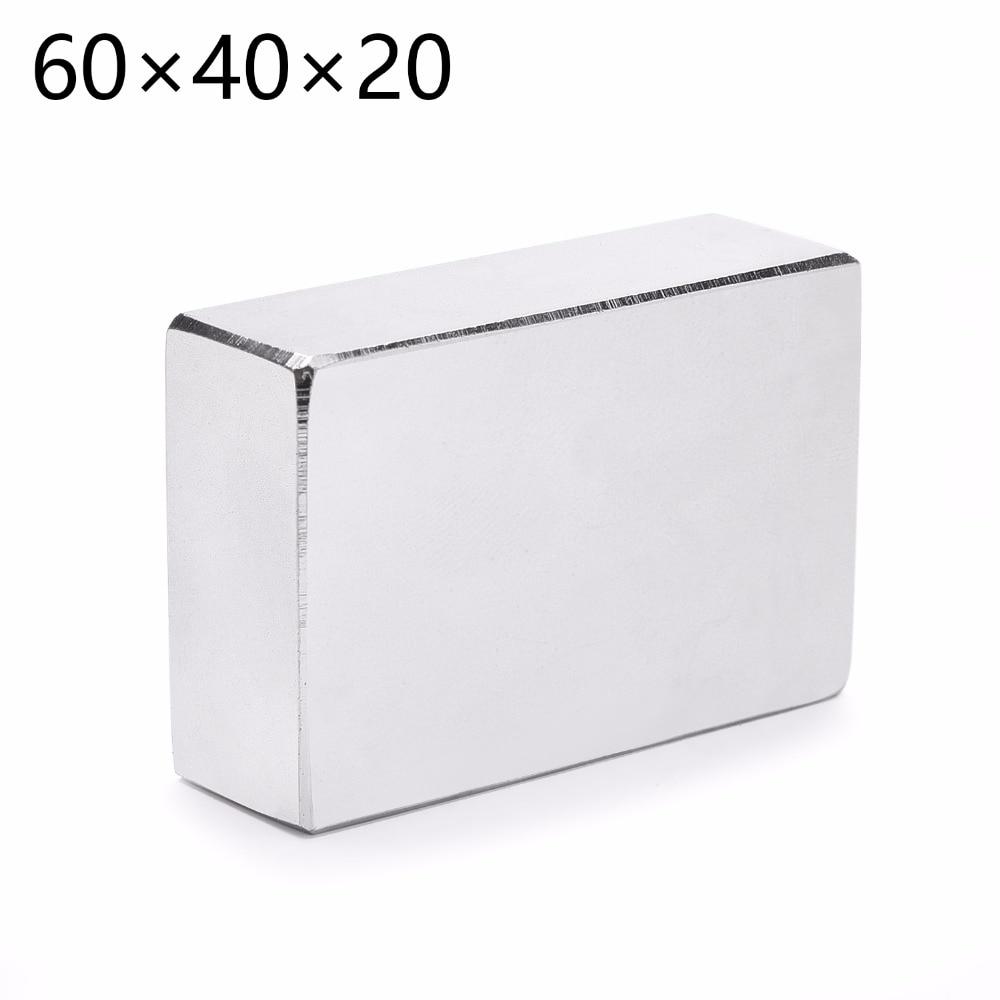 N52 1PCS/LOT 60mm X 40mm X 20mm Cuboid Rare Earth Big Neodymium Block Magnet 60*40*20MM все цены