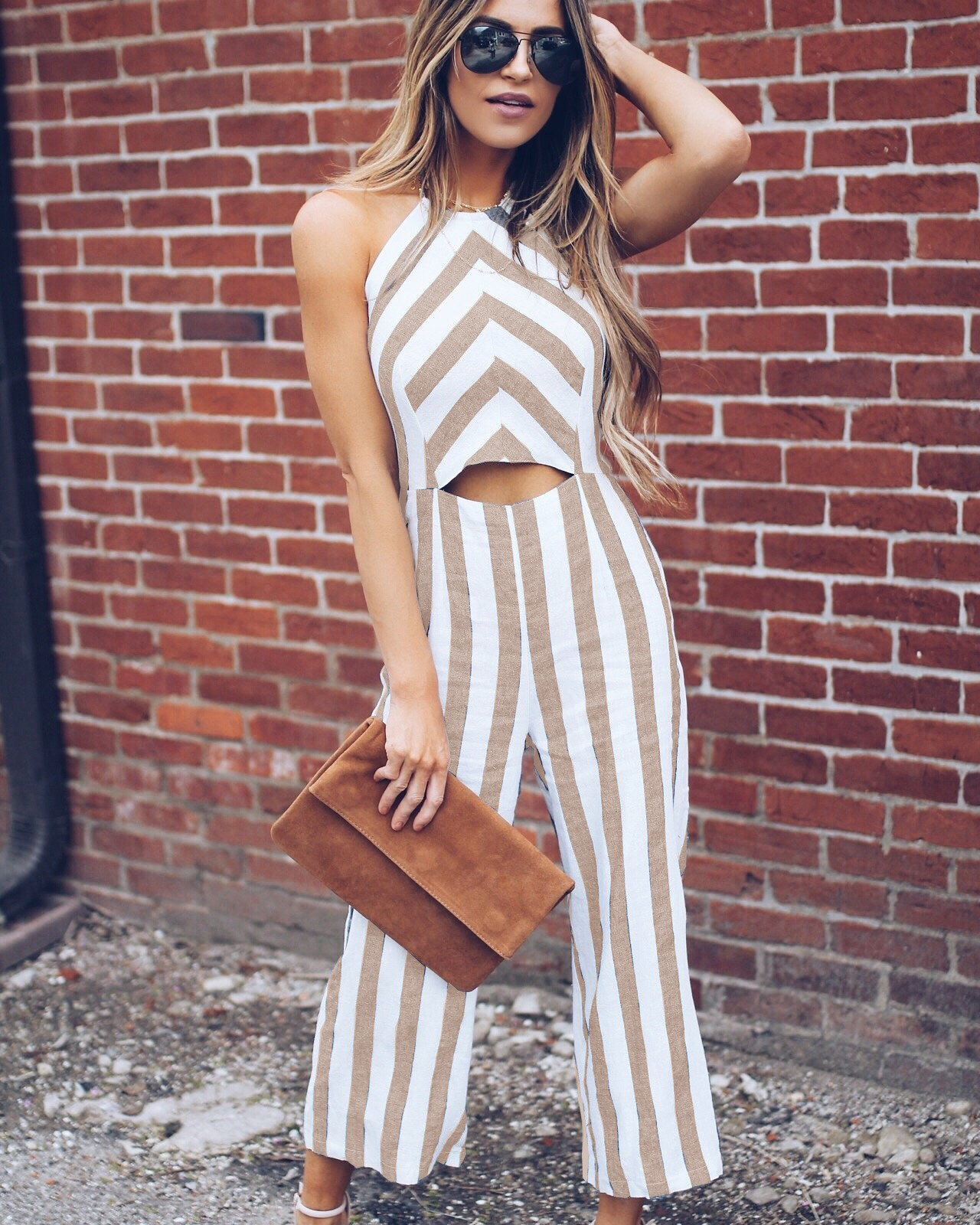 Summer Woman Casual Office Lady Work Basic Jumpsuit Elegant Hollow Out Simple Romper Sexy Halter Stripe Jumpsuit