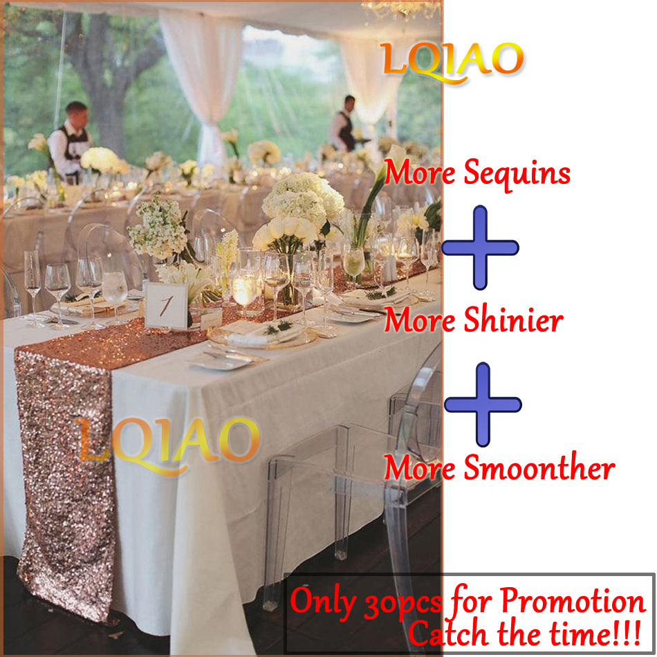 12x72/12x108 Sparkly Rose Gold Sequin Table Runner for Wedding Party Christmas Tablecloth Decor chemin de table mariage 30X180cm
